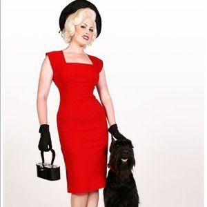 Tatyana Red ELLA Twist Wiggle Pinup Sheath Dress